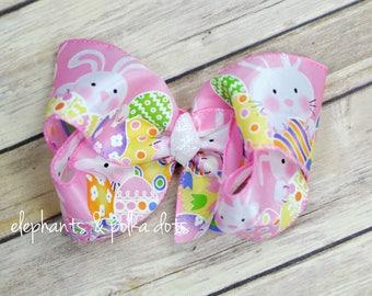 Satin Easter Bunny Boutique Hair Bow--Peeking Bunny--Jumbo Bow