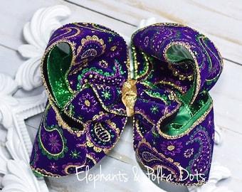 Sparkly Mardi Gras Boutique Hair Bow