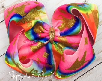 Sparkly Unicorn  Boutique Hair Bow- 8 inches wide