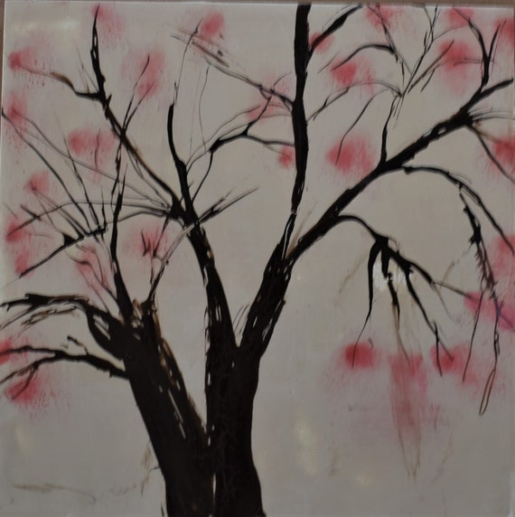 Cherry Blossoms Encaustic Painting
