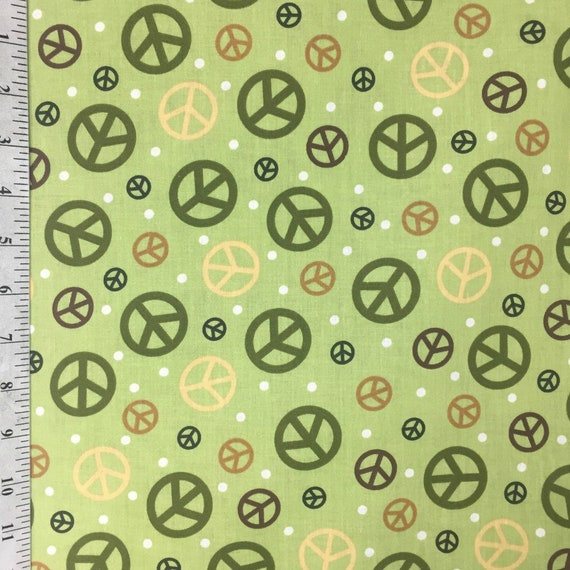 Green Peace Symbol Fabric By The Yard Vip By Cranston 100 Etsy