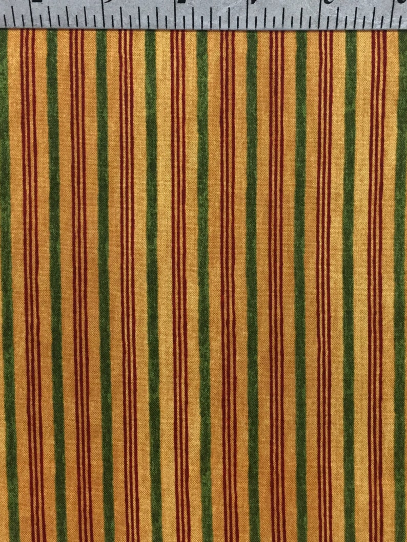 Cotton Fabric by the yard  Mustard yellow /& green Vertical Stripe  Sewing Supplies  Christmas Valley  Carter Brown  Wilmington prints