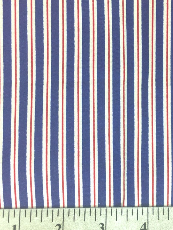 Striped Cotton Fabric By The Yard Blue Red And White Etsy