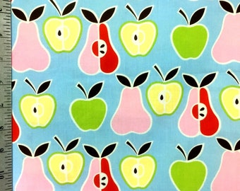 Apples and Pears Blue by Alexander Henry / Designer Cotton Fabric by the yard / Fruit print / Food Print / Sewing / Quilting