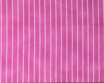 Pink and white stripe Fabric by the yard / The adventures of Tiny Teddy / Cotton fabric with pink and white stripes / Vertical Stripes