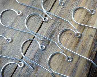 Silver ear wires, French hook, 5 prs, 20 ga silver plated wire, classic style, hand crafted earring findings, long ear wires, more available