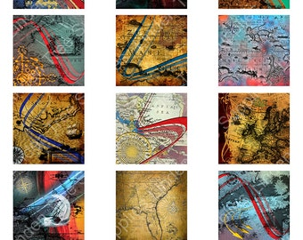 Old Maps Digital Collage Sheet, 2 x 2in, Nautical Theme  Instant Download, Scrapbooking.