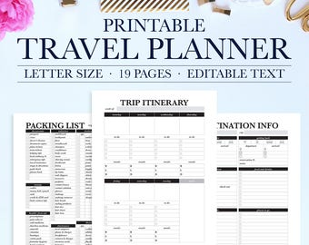 printable travel planner vacation planner kit trip planner etsy