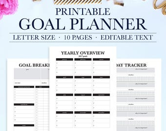 Goal worksheet etsy goal tracker goal planning goal setting goal planner new years resolution success planner goal worksheet habit tracker printable ibookread