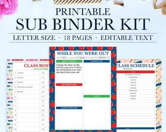 Teacher Classroom Organization, Substitute Binder, Substitute Teacher Planner, Printable Teacher Planner, Teacher Binder, Editable Planner