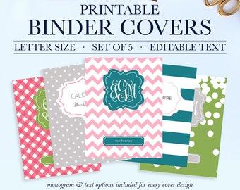 Preppy Binder Cover and Spines, Monogram Binder Cover Printable, Teacher Binder Insert, Printable Binder Cover, Student Printable Binder