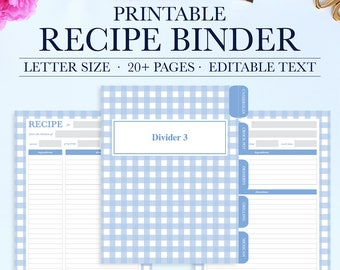 Recipe Binder Printable Kit, Personalized Family Recipe Binder, Recipe Pages, Recipe Organizer, DIY Recipe Binder Printable, Recipe Template