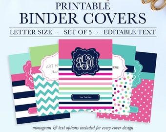 personalized binder cover printable student printable binder covers and spines teacher binder insert school binder cover binder spine