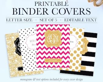 Binder Covers Printable, Student Printable Binder Covers and Spines, Teacher Binder Cover, Binder Spine, School Binder Cover,Monogram Binder