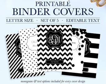 monogram binder covers student printable binder covers and etsy