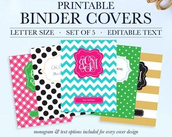 Binder Covers Dots, Student Printable Binder Covers and Spines, Teacher Binder Cover Printable, School Binder Cover,Monogram Binder