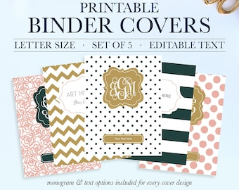 Monogram Binder Covers - Set of 5 - Personalized Binder Inserts and Spines (8.5x11in) - Printable Binder Covers - Instant Download