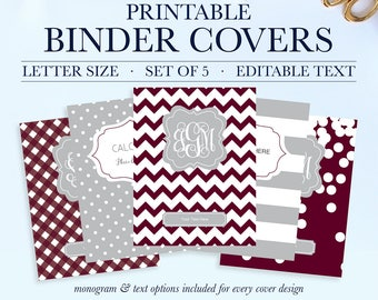 student printable binder covers and spines monogram binder etsy