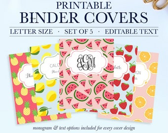 Printable Binder Covers, Monogram Binder Covers, Teacher Binder Inserts, Student Printable Binder Covers and Spines, School Binder