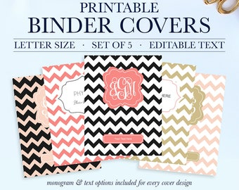 Printable Binder Inserts - Set of 5 - Personalized Monogram Binder Cover and Spine Text (8.5x11in) - Instant Download