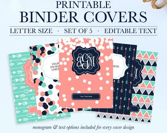 Monogram Binder Covers, Student Printable Binder Covers and Spines, Teacher Binder Cover Printable, Binder Spine, School Binder Cover