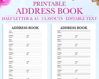 address book printable contact info contact page contact