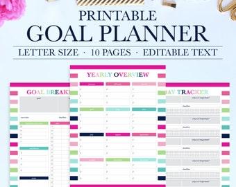 Goal Tracker, Goal Planning, Goal Setting, Goal Planner, New Years Resolution, Success Planner, Goal Worksheet, Habit Tracker Printable