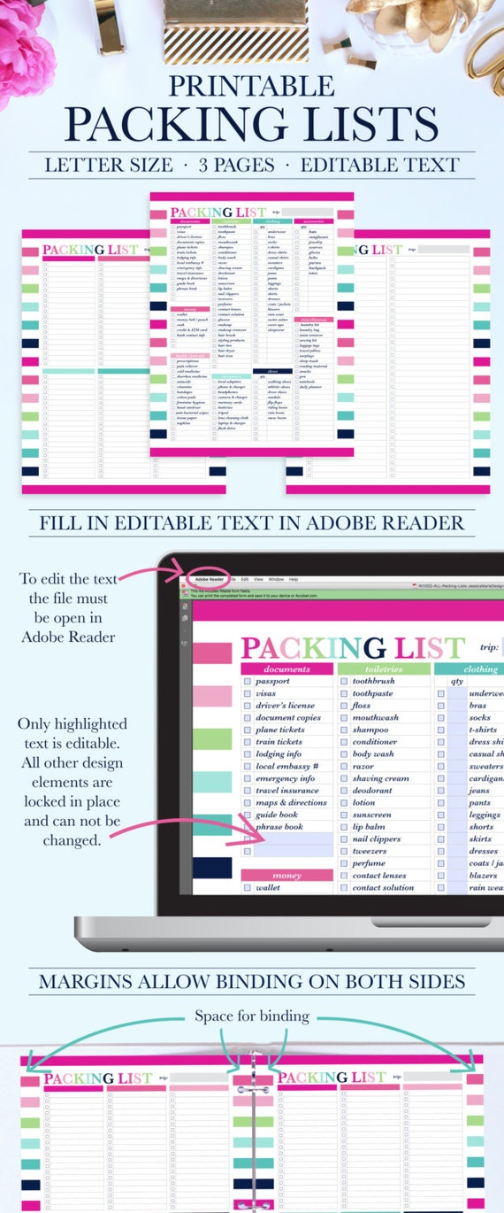 printable packing list travel packing list packing planner etsy