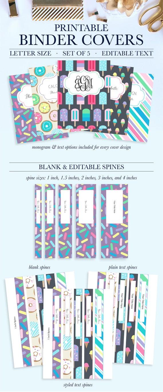 Printable Binder Covers Monogram Binder Covers Teacher Etsy