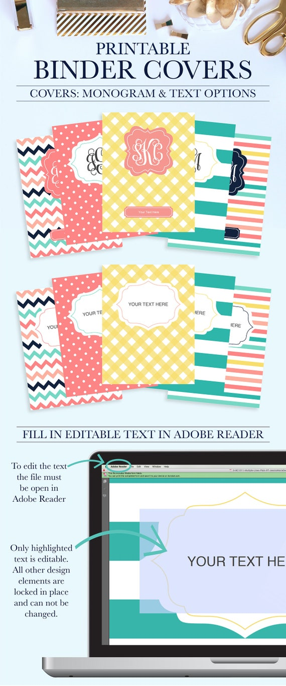student printable binder covers and spines personalized etsy
