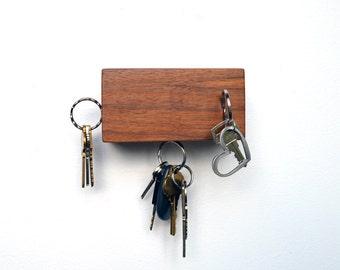 Wood wall magnetic key holder