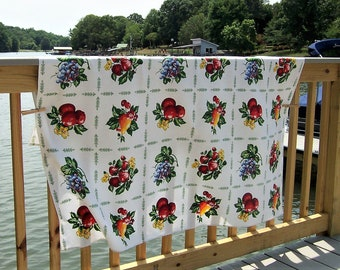 086d1388ff Vintage Tablecloth with Fruit and Leaves Multi-Colored Mid-Century Linen  for Tea Party or Country Farmhouse Style Measures 50
