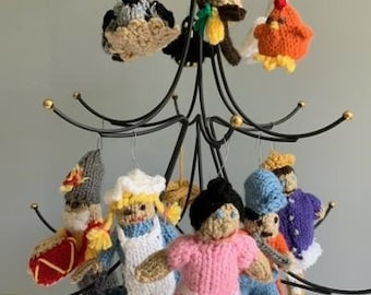 Twelve Days of Christmas Knitted Ornaments - DIY Pattern, Downloadable Instructions, Beginners Level Knitting