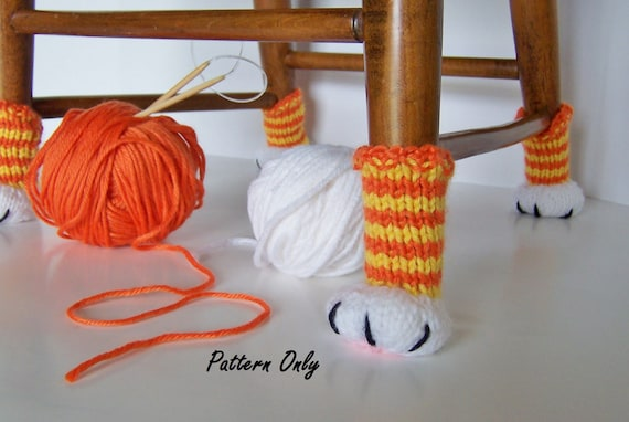 Knitting Pattern Cat Paw Chair Leg Covers Diy Instruction