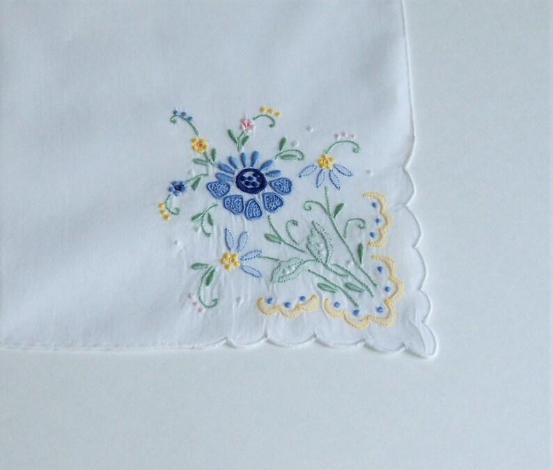 Something Blue Wedding Handkerchief for a Bride Blue Floral Applique Happy Tears Bridal Shower Gift 1950/'s Antique Heirloom Hanky