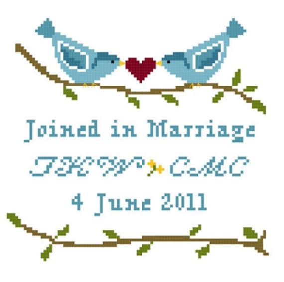 Love Birds Wedding Sampler