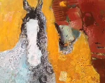 Horses Ponies Original Painting Mixed Media Canvas