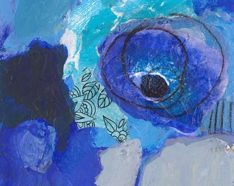 blue abstract flower original painting