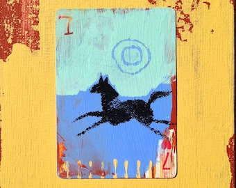 Pony, Hand Painted Playing Card