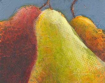 pears original mixed media painting