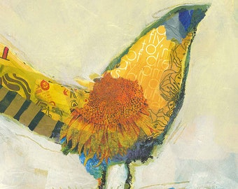 Bird Collage Original Mixed Media Painting
