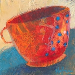 coffee cup, mixed media, collage, fine art, canvas, on sale