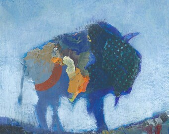 Buffalo Bison Original Painting Mixed Media Collage