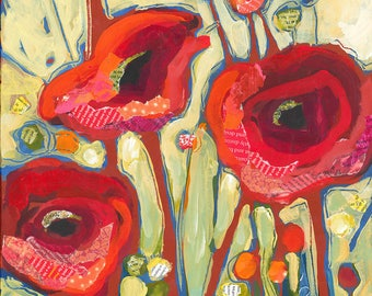 Red Poppies Original Painting 50% Off Sale