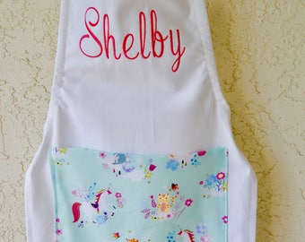 Unicorn apron includes name toddler size through tweens girls  kids chefs baking apron