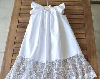 Baptism Christening dress baby dedication dress white cotton with lace and flutter sleeves