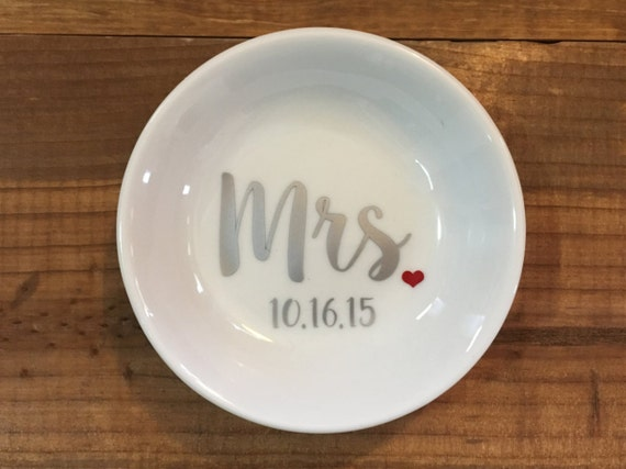 Ring Dish | Mrs | Wedding | Ring Holder | Engagement Gift | Bridal Favor | Wedding Date