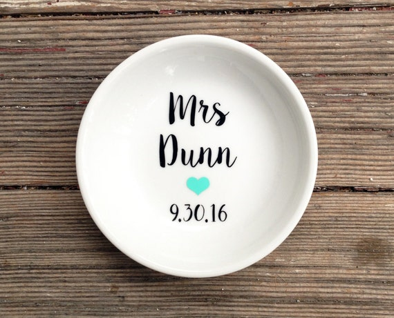 Ring Dish | Mrs | Wedding Date | Ring Holder | Engagement Gift | Jewelry Dish