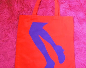 Supaflarez LEGS design 100% cotton canvas tote bag—Orange