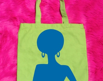 Supaflarez DISCOCHICK design 100% cotton canvas tote bag—Lime